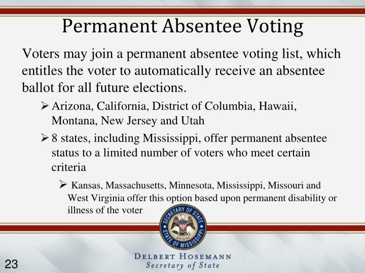 Permanent Absentee Voting