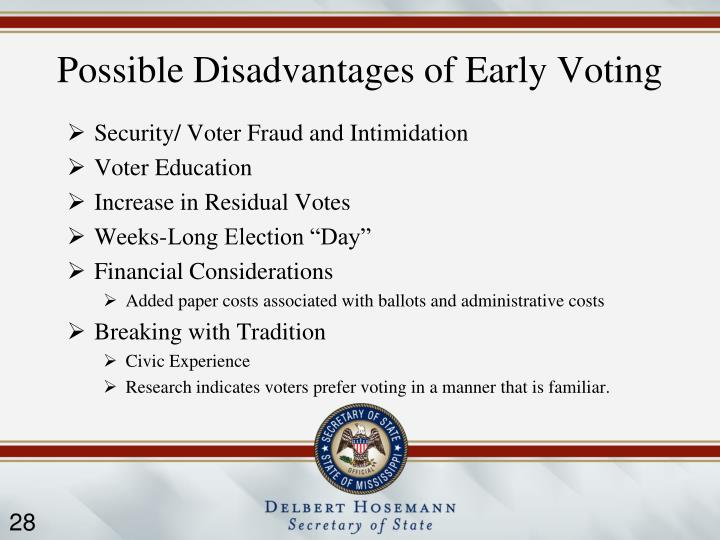 Possible Disadvantages of Early Voting
