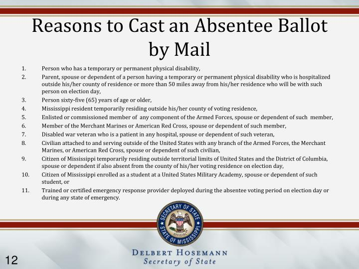 Reasons to Cast an Absentee Ballot by Mail