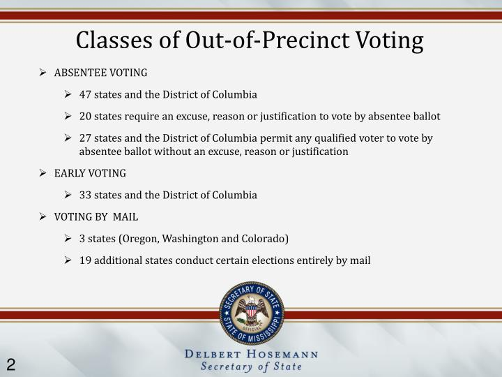Classes of Out-of-Precinct Voting