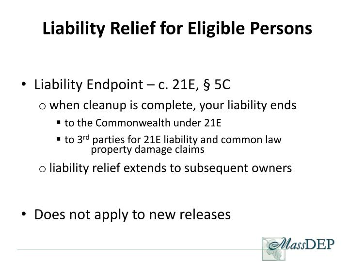 Liability Relief for Eligible Persons