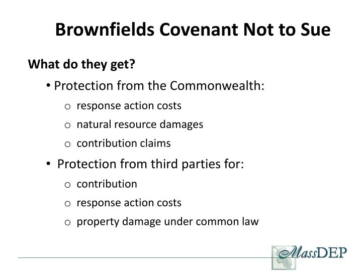 Brownfields Covenant Not to Sue