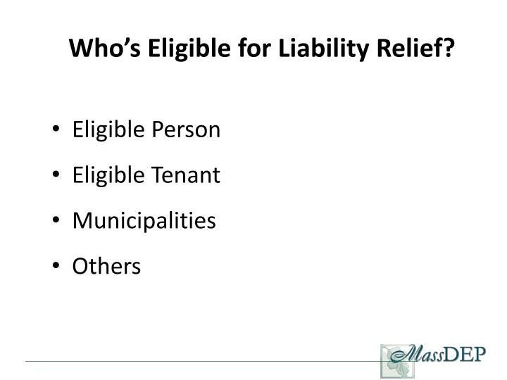 Who's Eligible for Liability Relief?