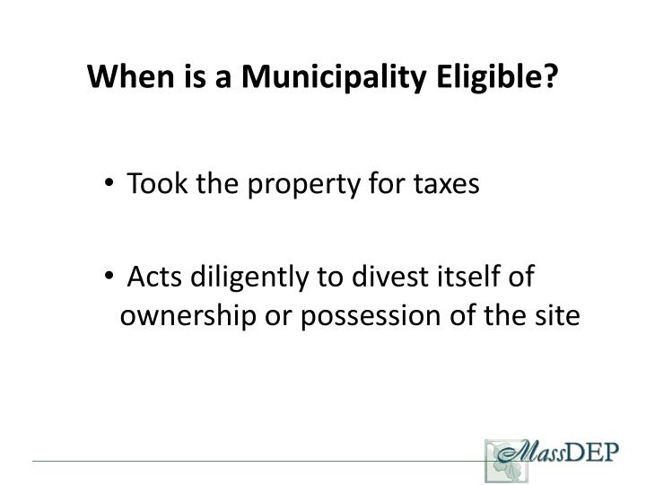 When is a Municipality Eligible?