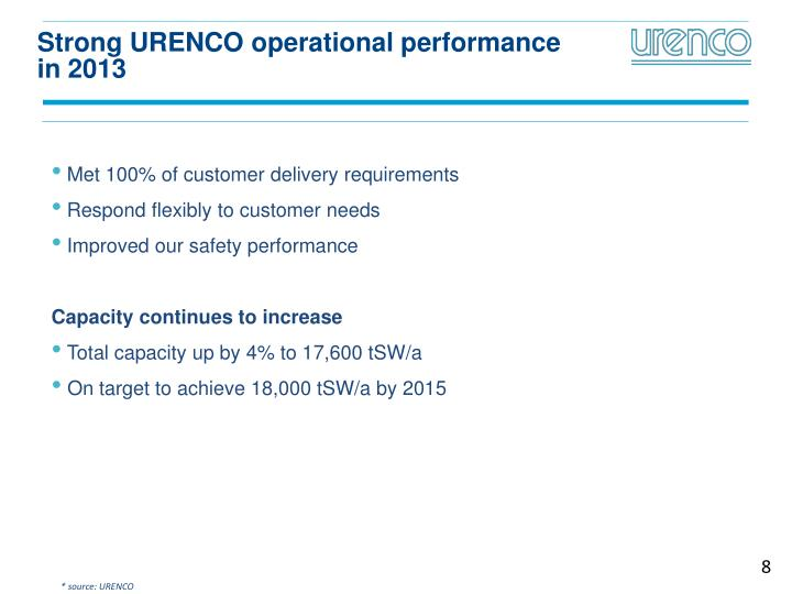 Strong URENCO operational performance