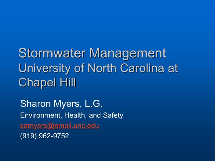 Stormwater management university of north carolina at chapel hill
