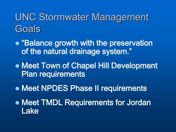 UNC Stormwater Management Goals