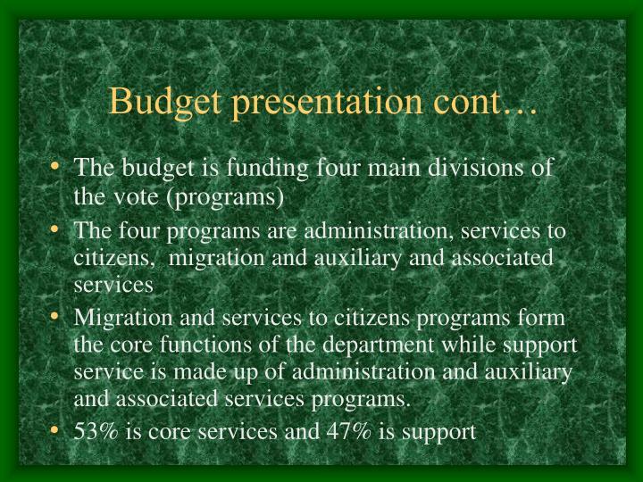 Budget presentation cont…