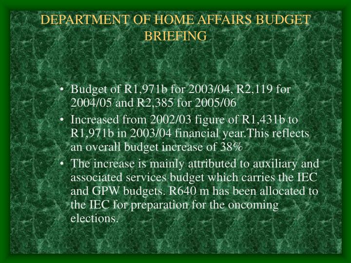 Department of home affairs budget briefing