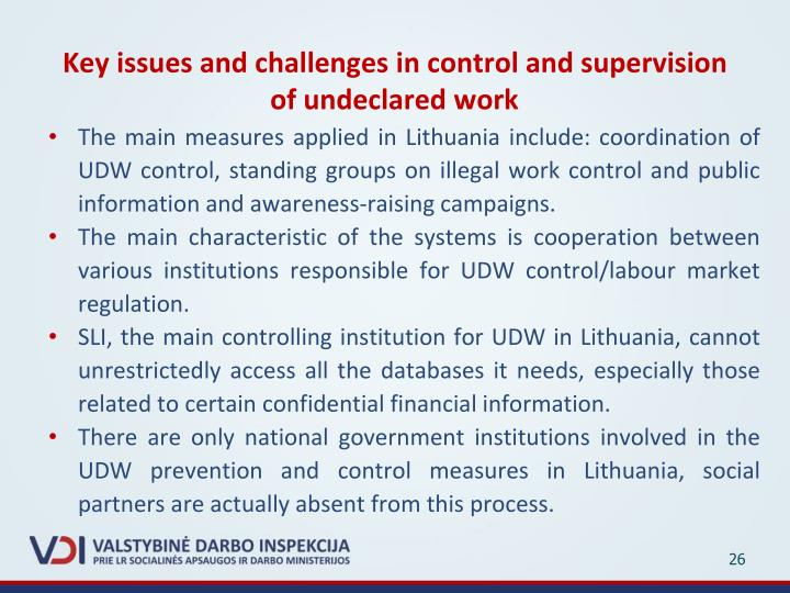 Key issues and challenges in control and supervision of undeclared work