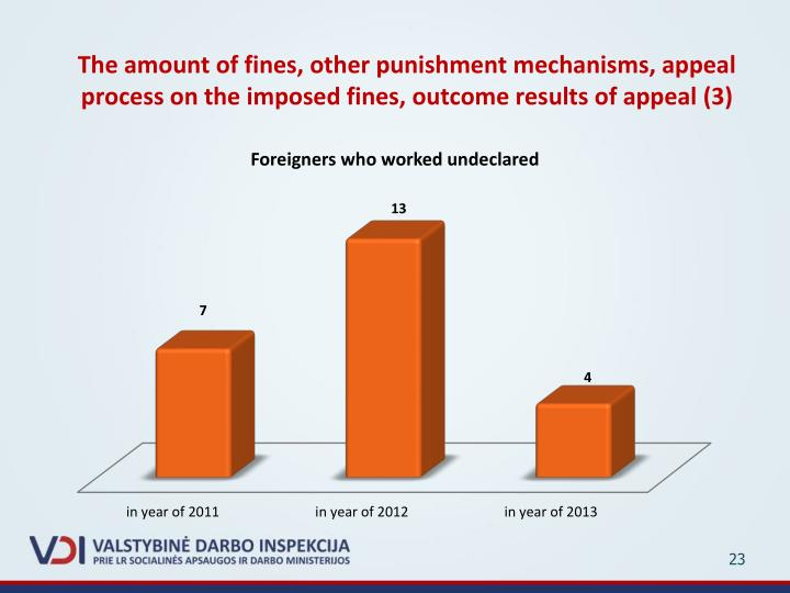 The amount of fines, other punishment mechanisms, appeal process on the imposed fines, outcome results of appeal