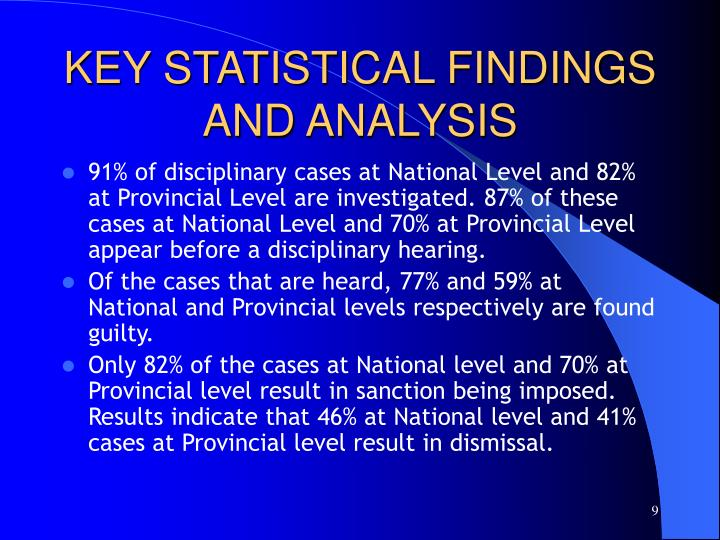 KEY STATISTICAL FINDINGS AND ANALYSIS