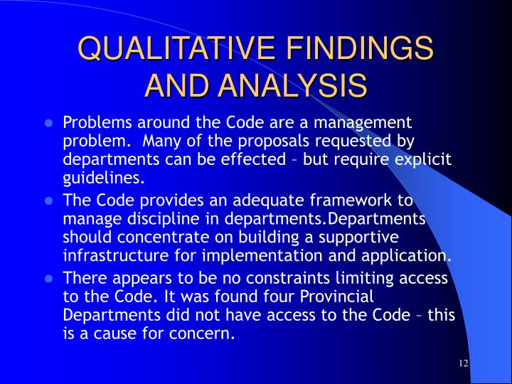QUALITATIVE FINDINGS AND ANALYSIS