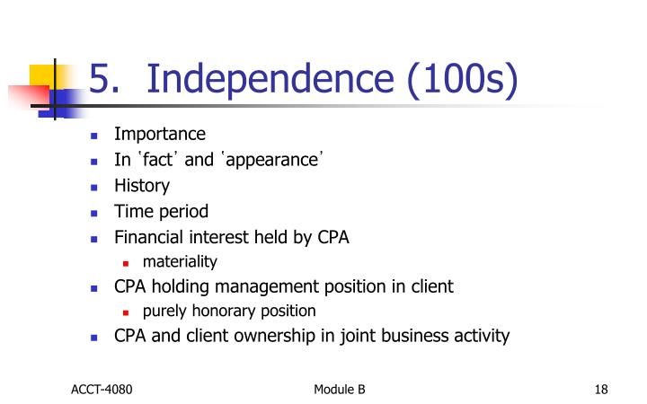 5.  Independence (100s)