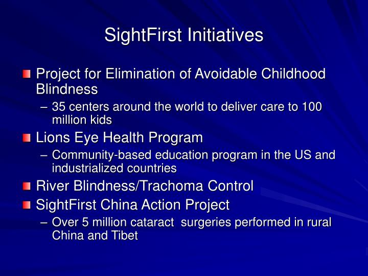 SightFirst Initiatives