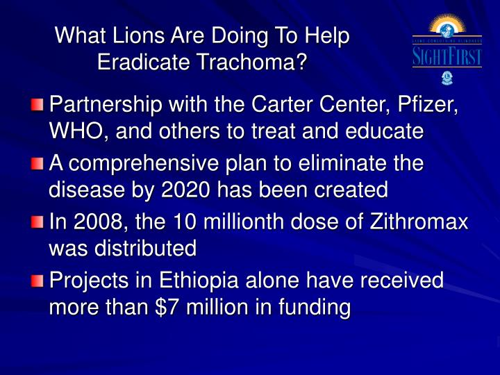 What Lions Are Doing To Help Eradicate Trachoma?