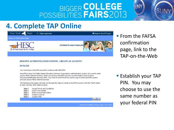4. Complete TAP Online
