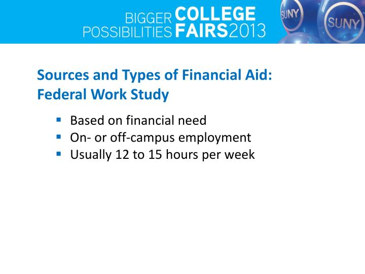 Sources and Types of Financial Aid: