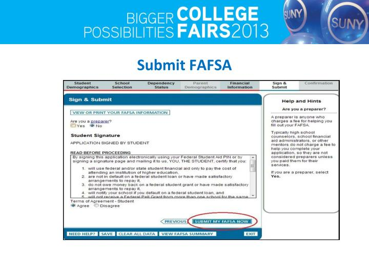 Submit FAFSA