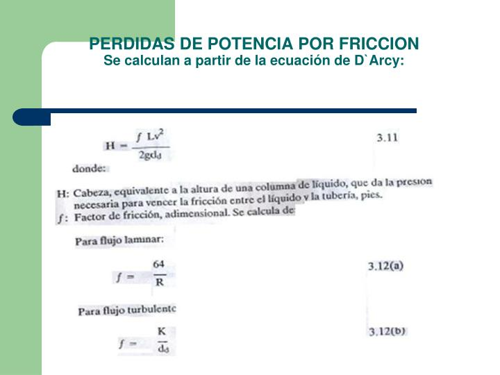 PERDIDAS DE POTENCIA POR FRICCION