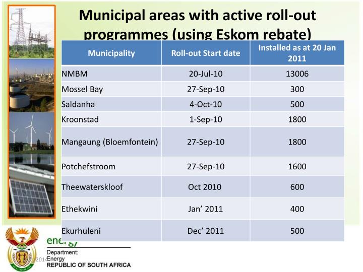 Municipal areas with active roll-out programmes (using Eskom rebate)