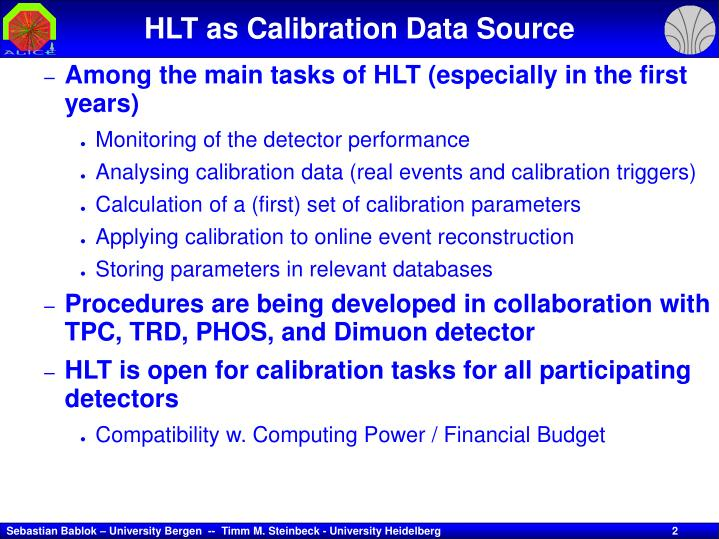 HLT as Calibration Data Source