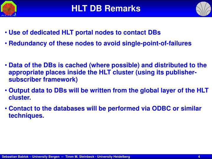 HLT DB Remarks