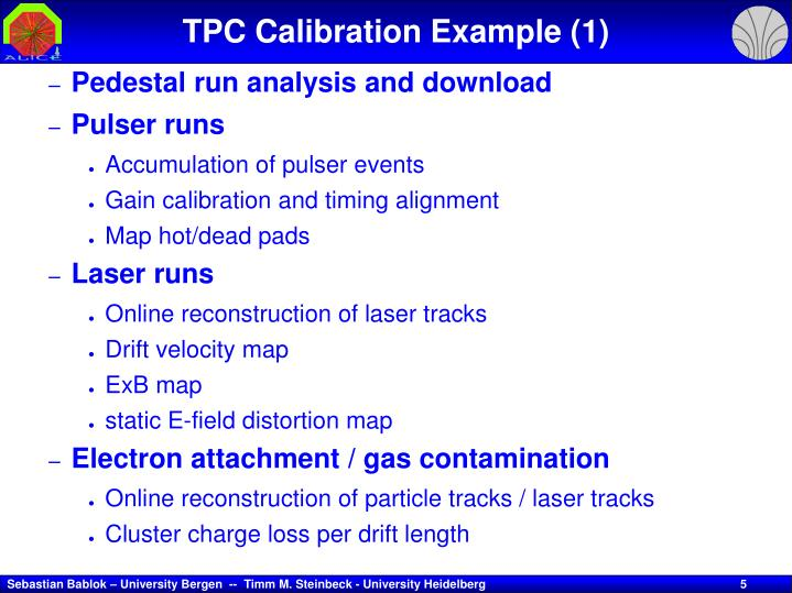 TPC Calibration Example (1)