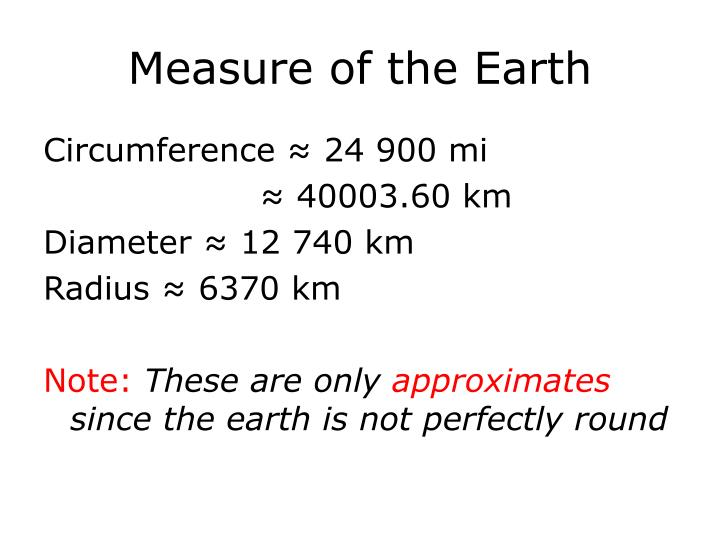 Measure of the Earth