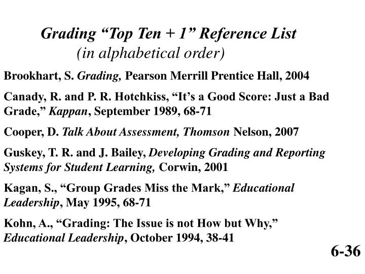 "Grading ""Top Ten + 1"" Reference List"