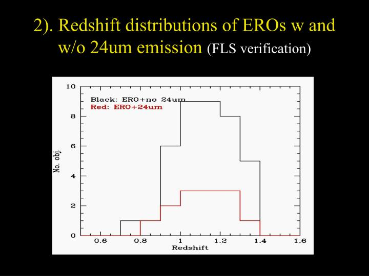 2). Redshift distributions of EROs w and w/o 24um emission