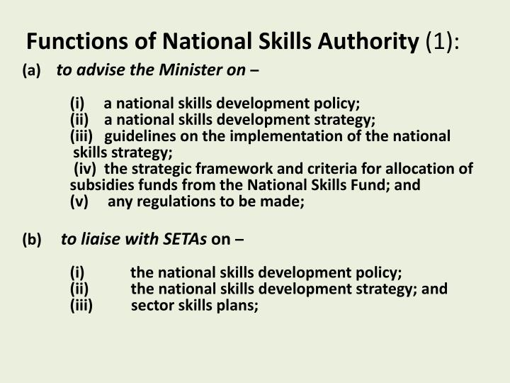 Functions of National Skills Authority
