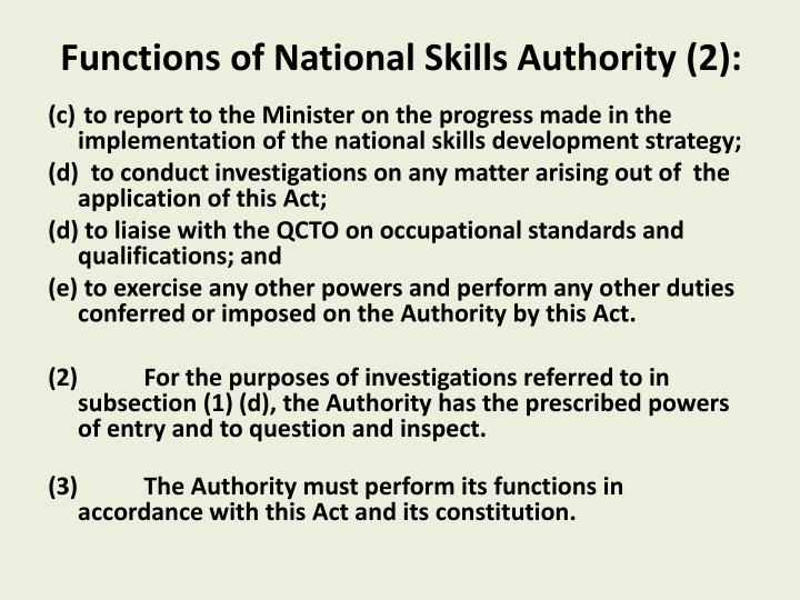 Functions of National Skills Authority (2):