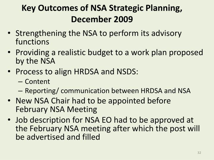 Key Outcomes of NSA Strategic Planning, December 2009
