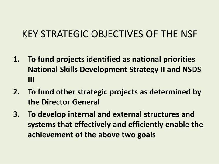 KEY STRATEGIC OBJECTIVES OF THE NSF