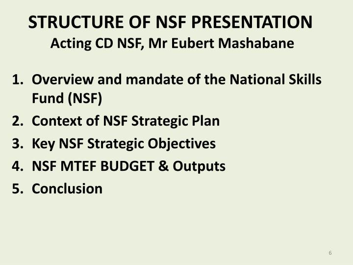 STRUCTURE OF NSF PRESENTATION
