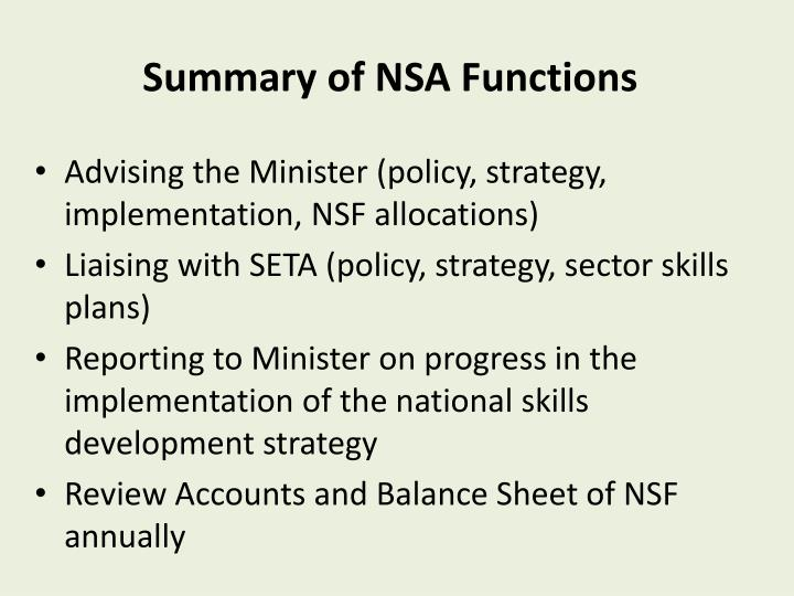 Summary of NSA Functions