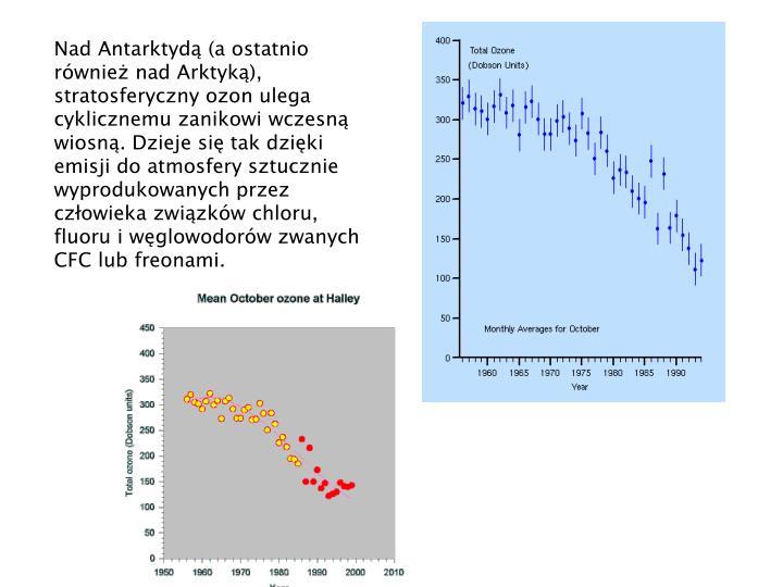 Nad Antarktyd (a ostatnio rwnie nad Arktyk), stratosferyczny ozon ulega cyklicznemu zanikowi wczesn wiosn. Dzieje si tak dziki emisji do atmosfery sztucznie wyprodukowanych przez czowieka zwizkw chloru, fluoru i wglowodorw zwanych CFC lub freonami.