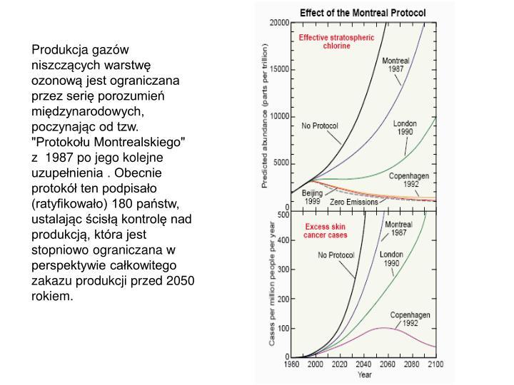 """Produkcja gazw niszczcych warstw ozonow jest ograniczana przez seri porozumie midzynarodowych, poczynajc od tzw. """"Protokou Montrealskiego"""" z  1987 po jego kolejne uzupenienia . Obecnie protok ten podpisao (ratyfikowao) 180 pastw, ustalajc cis kontrol nad produkcj, ktra jest stopniowo ograniczana w perspektywie cakowitego zakazu produkcji przed 2050 rokiem."""