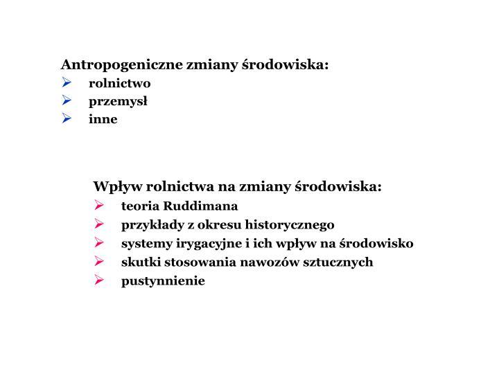 Antropogeniczne zmiany rodowiska: