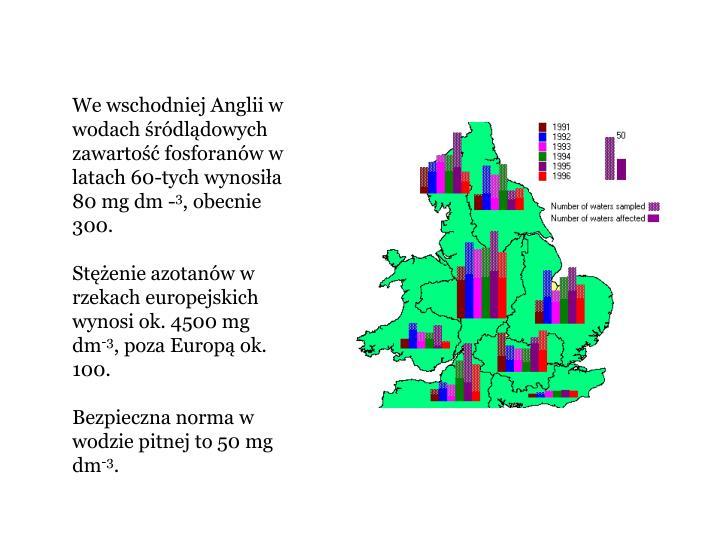 We wschodniej Anglii w wodach rdldowych zawarto fosforanw w latach 60-tych wynosia 80 mg dm -