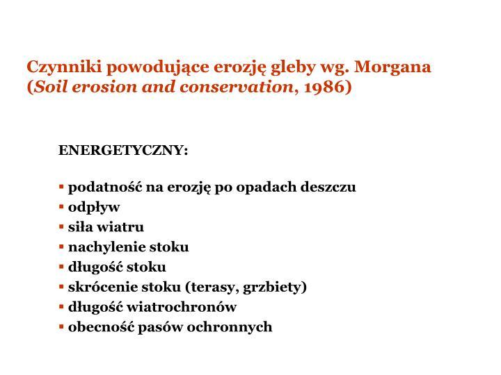 Czynniki powodujce erozj gleby wg. Morgana (