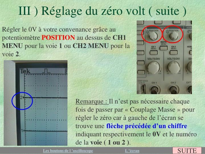 III ) Réglage du zéro volt ( suite )