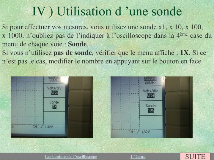 IV ) Utilisation d'une sonde