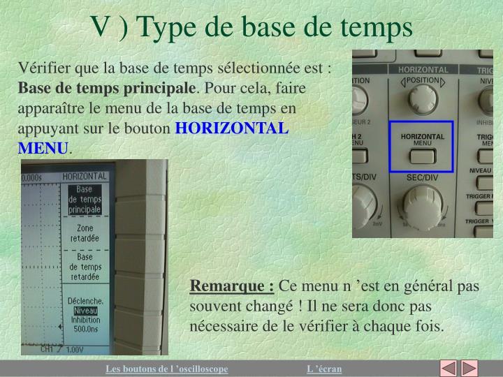 V ) Type de base de temps