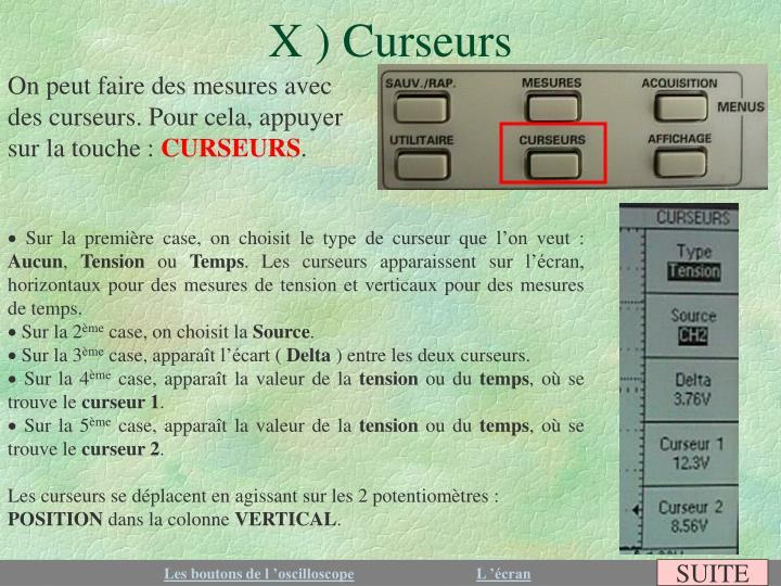 X ) Curseurs