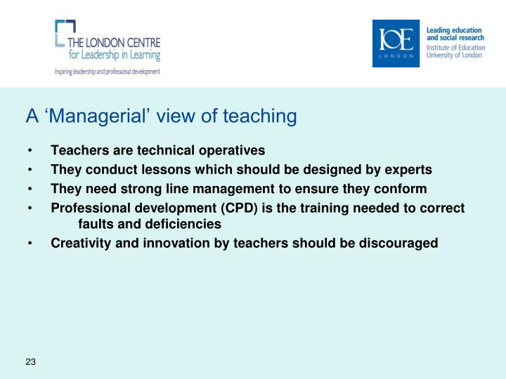 A 'Managerial' view of teaching