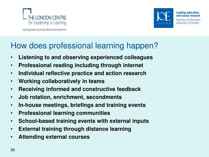 How does professional learning happen?
