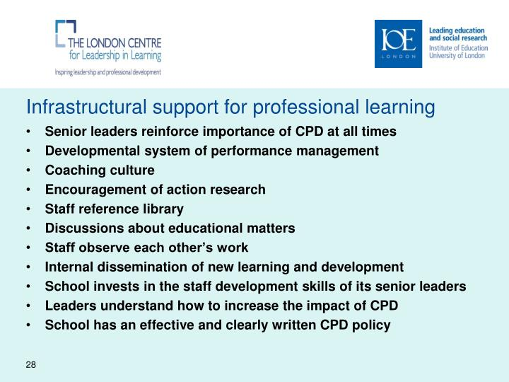 Infrastructural support for professional learning
