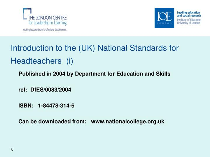 Introduction to the (UK) National Standards for Headteachers  (i)